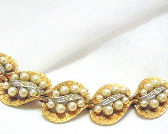 Wide BSK Faux Pearl, Rhinestone Vintage Bracelet