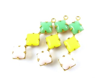 2 - Vintage Glass Square Stone in 1 Ring 3 Stones Brass Prong Settings - Jadeite Green, Lemon Yellow & Light Pink - 30x8mm