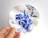 Blue Bouquet-  irregular undulated handbuilt  Handpainted Porcelain dish