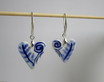Two sided Blue and white Heart shaped Porcelain earrings on  Silver Earring Hooks - Dutch  Blue - Delft