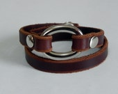 Brown Wrap Leather Bracelet Leather Cuff with Silver Tone Metal Oval Ring Snap Button Clasp