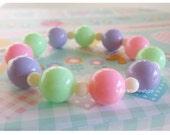Chunky Pastel Bracelet Sweet Lolita Fairy Kei Stretch Bracelet Kawaii Jewelry Stacking Wrist Candy Gumball Harajuku Fashion