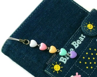 SHIPS APRIL 3rd - Kawaii Planner Accessories Heart Charm Rainbow Heart Pastel Planner Accessory Cell Charm Backpack Purse Charms