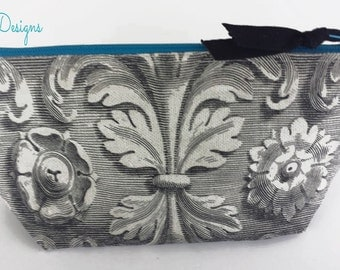 Vintage Styled Black and White Scrolled Medallion Baroque Makeup Bag, Cosmetic Bag Lined Zippered Pouch With Aqua Accents