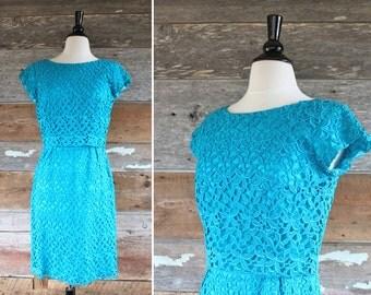 "60s dress / 1960s wiggle dress / turquoise blue lace dress / bust 36"" waist 28"" / size m"