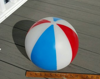 Vintage red white and blue large glass ball shade, circus balloon