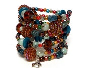 COLOR BURST coil Beaded Bracelet by Beading Divas Fundraiser