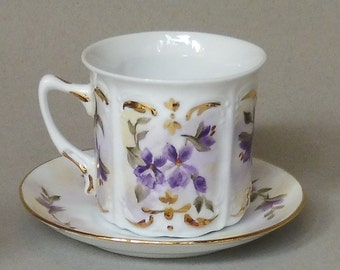 Purple Violet Cup and Saucer