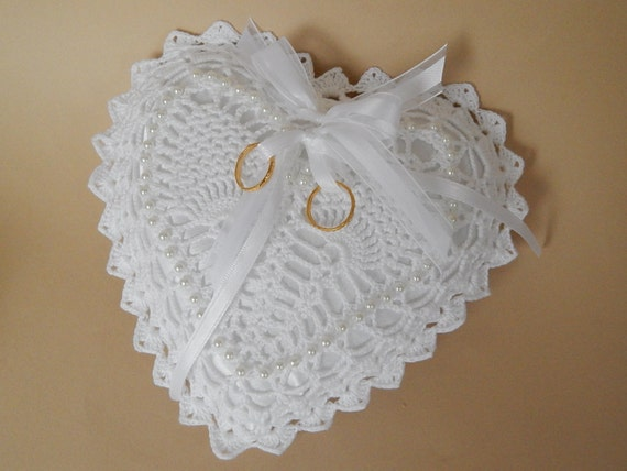 ring bearer pillow crocheted lace white heart shaped