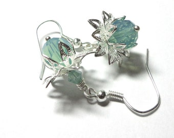 Earrings, Lotus Flower, Swarovski Blue Green Opal Austrian Crystals, Silver, Spiritcatdesigns