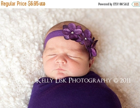 FALL SALE Baby Headband - Newborn Headband - Purple Headband - Toddler Headband - Purple Triple Dainty Flowers on Stretch Headband - Photogr
