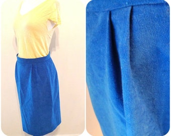Turquoise Skirt Vegan Sueded Sock Hop 70s / 50s Brilliant Blue Rockabilly West Side Story Vixen Pretty in Pink Pleated Breakfast Club Pencil