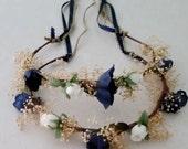 Custom color navy flower crowns -2- Toddler headbands halo dried flower burgundy mini hairwreath winter wedding bridal girl accessories