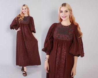 Vintage 70s DRESS  / 1970s Boho Dark Wine Ethnic Print Maxi Tent Dress