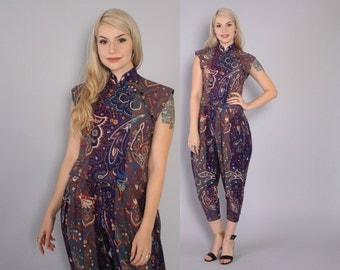 Vintage 70s KENZO 2 Piece / 1970s Matching Asian Style Top & Cropped Harem Pants XS - S