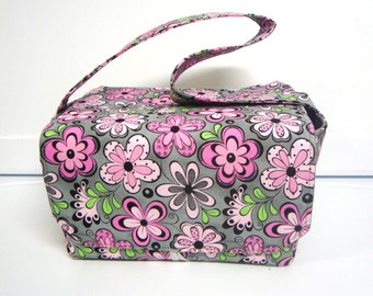 Super Large 6 inch Depth Fabric Coupon Organizer - Gray with Pink Floral