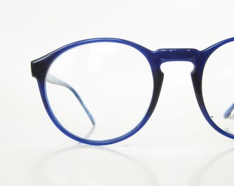1980s Round Eyeglasses Oversized Womens Mens Unisex Glasses P3 Keyhole Bridge Indie 80s Hipster Chic Cobalt Blue Sea Light Navy Geek Nerdy