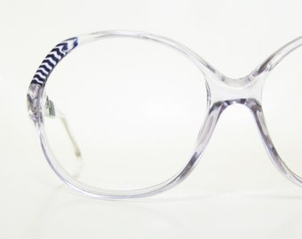 Vintage 1970s Retro Eyeglasses Womens Blue Clear Sunglasses Indie Hipster Chic 70s Seventies Ladies Transparent Crystal Deadstock