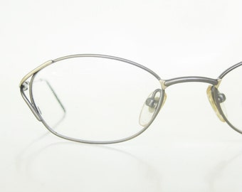 1980s Reading Glasses Vintage Wire Rim Womens Gold Golden Metallic Brushed Metal 80s Eighties Indie Hipster Chic Retro Classic Readers