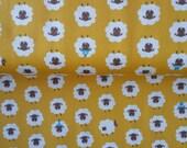 Yellow Japanese fabric with kawaii cute white sheep from Japan Kokka Half Yard