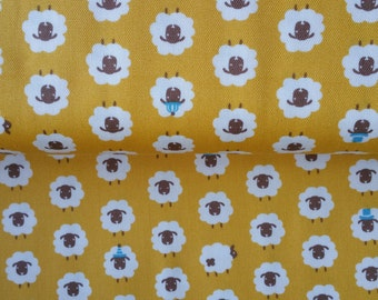 Yellow Japanese fabric with kawaii cute white sheep from Japan Kokka Half Yard