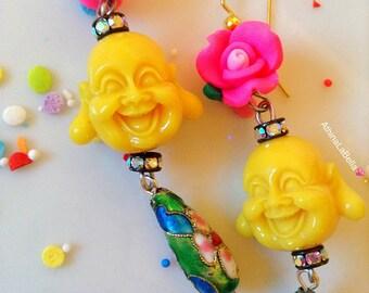 Buddha Earrings - Buddha Jewelry - Flower Earrings - Flower Jewelry - Boho Earrings - Boho Jewelry - Kitsch Jewelry - Kawaii Jewelry