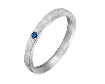 Woman's ring  set Blue Diamond  silver ring for woman, Delicate stacking ring, Blue Diamond