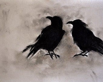 "Original Charcoal Drawing of Two Crows Blackbird Raven Halloween Romantic Gothic Dark Art 8x12"""