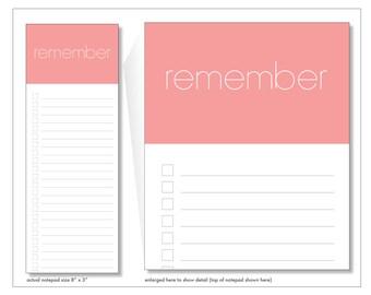 remember // notepads // pink // lines // checkbox // list // to do // skel // skel design // skel & co