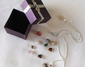 11 Gemstones Interchangeable Necklace .925 Silver Snake Chain Hollow Filigree SP Cage Gift Box DIY