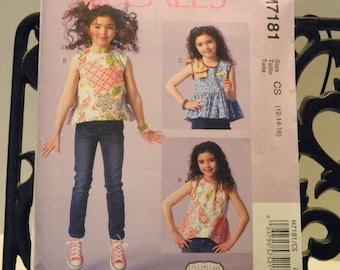 McCall's 7181 Girls tops pattern  2015 new uncut size 12-14-16