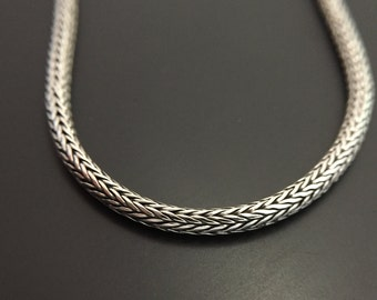 Sterling Silver Chain 3mm Thick Sterling Silver Chain Heavy Woven Sterling Silver Chain