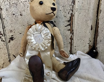 Antique bear, Mohair, shoe button eyes, French Bear