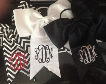 Monogrammed girls big bows cheer bows with clips or pony elastic