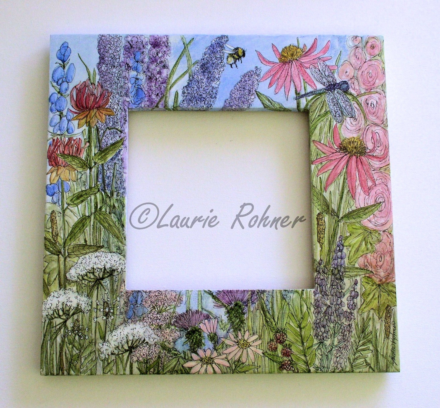 Hand Painted Furniture Garden Flower Farmhouse Painted Mirror Frame ...