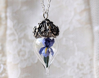 ON SALE Purple Iris Flower Glass Vial Terrarium Necklace by Woodland Belle