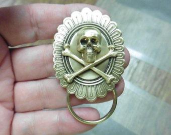 Skull and crossbones oval brass Eyeglass pin pendant ID badge holder eyeglasses loop E-890