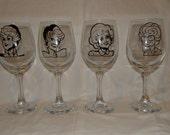 Golden Girls Wine Glasses Set of 4 Regular and Stemless