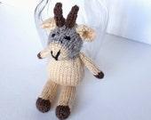 "Little Hand Knit Goat, Ready To Ship, Small Stuffed Animal Knit Toy, Farm Animal Nursery Toy, Newborn Infant Photo Prop Goat 7 3/4"" Tall"