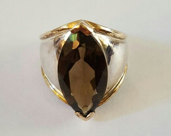 Vintage Sterling Silver and 14k Yellow Gold Marquis Cut Smoky Topaz Ring Size 6