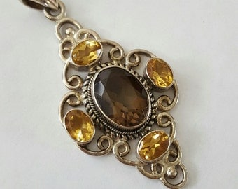 Vintage Large Sterling Silver Smoky Quartz and Citrine Pendant