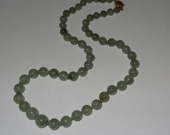 Vintage 14k Gold and Moss Jade Graduated Bead Necklace by Gumps