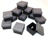 Dark Silver Sparkle Textured Ring Gift Boxes Lot Of 12