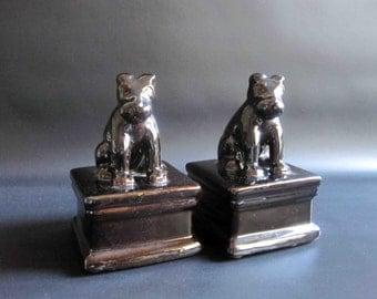 Vintage Glazed Ceramic Dog Bookends