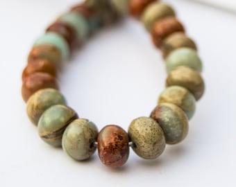 Natural Blue Impression Jasper Rondelle Beads 4x8mm or 3x6 15 inch strand