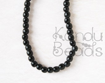"Nangka Wood Round 5mm, Dyed Black Color 15"" Strand (aprox 90 beads)"