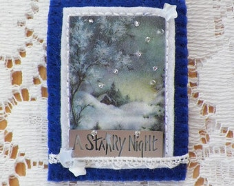 Handmade Embellished Nighttime Winter Scene Brooch / Pin / Broach, Vintage Image Snow Scene, Glass Beads / Star / Stars, Starry Night