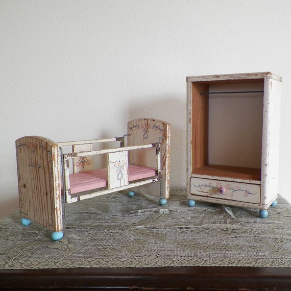 How To Paint Pressboard Kitchen Cabinets: Vintage Doll Bed / Crib And Clothes Wardrobe Cabinet