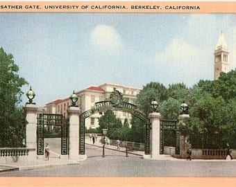 Vintage California Postcard - Sather Gate, University of California, Berkeley (Unused)
