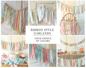 Baby Shower Backdrop.  Shabby Chic Fabric Garland Decor for Baby Shower. Boho Modern Style or CUSTOM color 4-10 Foot Ribbon Style Banner.